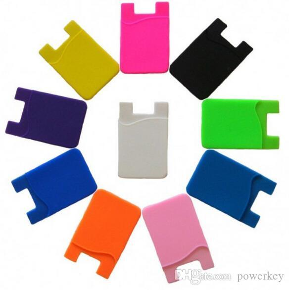 Vente en gros - Portefeuille en silicone Carte de crédit Autocollant de poche Pochette adhésive Poche Téléphone Mobile Gadget 3M Samsung