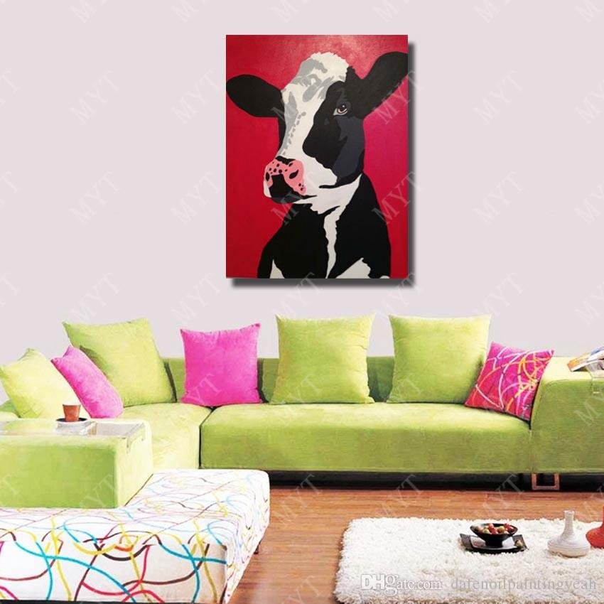Wall Design Modern Cow Oil Painting Wall Art Decorative Bedroom Wall Pictures Animal Oil Painting