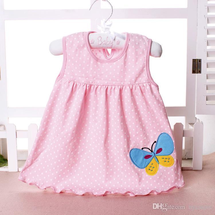 vestidos de algodón de la niña falda de dibujos animados de verano niños bordados sin mangas Una línea de punto de flores vestido de la princesa a rayas para niños 0-2T barato