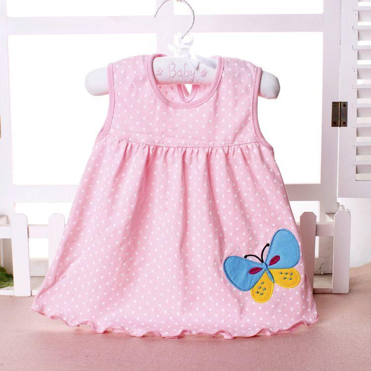 Vestidos de algodão do bebê menina verão dos desenhos animados saia bordada crianças sem mangas A linha ponto flor listrado vestido de princesa para 0-2 T crianças barato