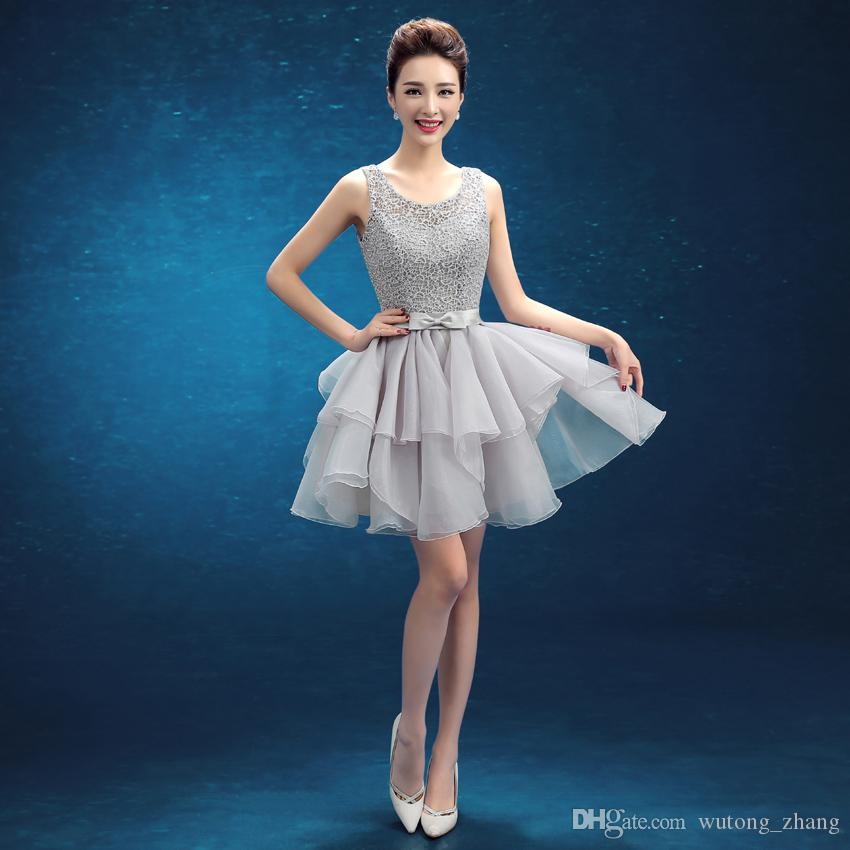 Latest Elegant Evening Dresses with Sashes Girls Backless Dress Short Ball Prom Party Pageant Graduation Formal Dress/Gown
