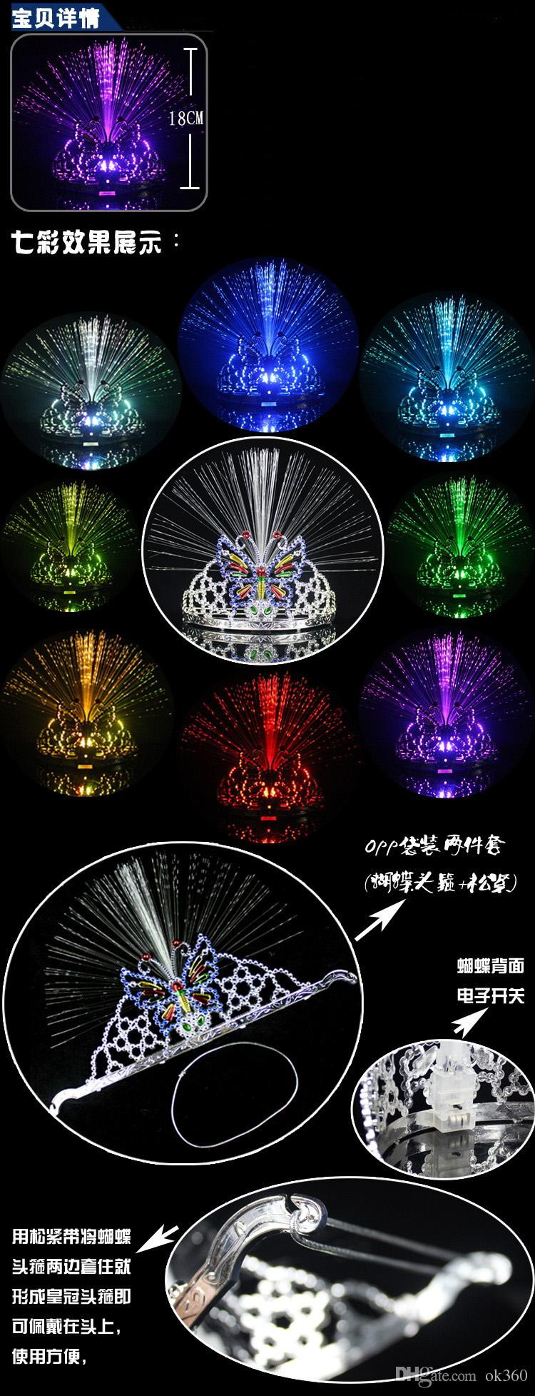 New Colorful Light Flash Changing Dancing Party Headgear Butterfly Crown Fiber optic Headband Night light Holiday Grow toy