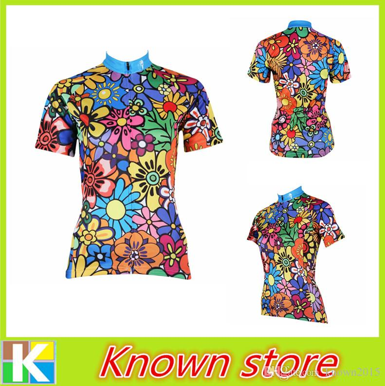 2016 New Women S Funny Cycling Jersey Colorful Flower Biking