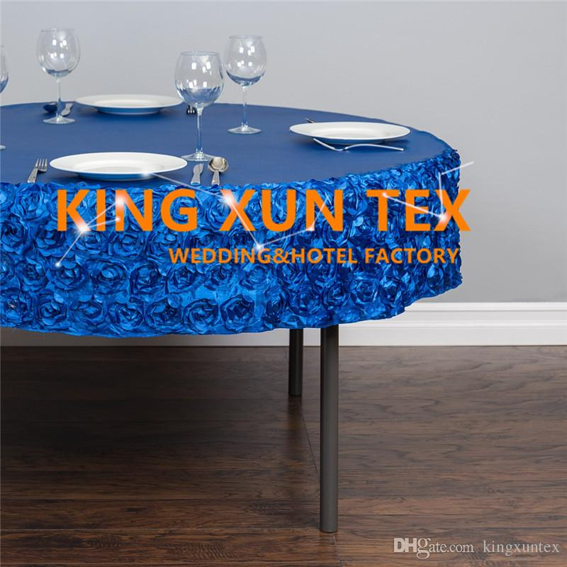 New Design 100% Poly Table Cloth With Satin Rosette Fabric Around Decoration \ Cheap Wedding Table Cover