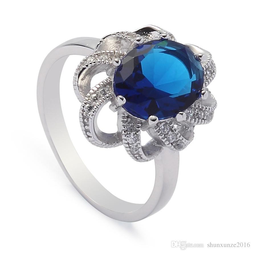 925 ayar gümüş promosyon kalp seti yüzük / küpe / kolye Noble Cömert S-ssz # 6 7 8 9 Koyu Mavi Kübik Zirkonya Yeni liste