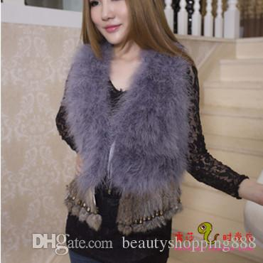 2017 autumnn winter new women's fashion ostrich fur patchwork rabbit fur tassel fringe sleeveless vest coat short casacos