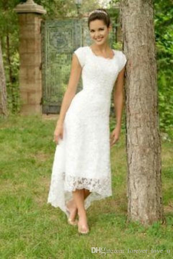 Vintage Country Style Hi Low Wedding Dress Full Lace Capped Garden Short Front Long Back Cheap High Quality Bridal Gowns Zipper up Back