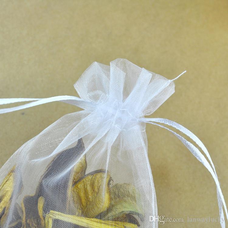 Blanc Organza Cordons Pochettes Bijoux Partie Petit Faveur De Mariage Sacs D'emballage Emballage Cadeau Bonbons Wrap Carré 5 cm X 7 cm 2