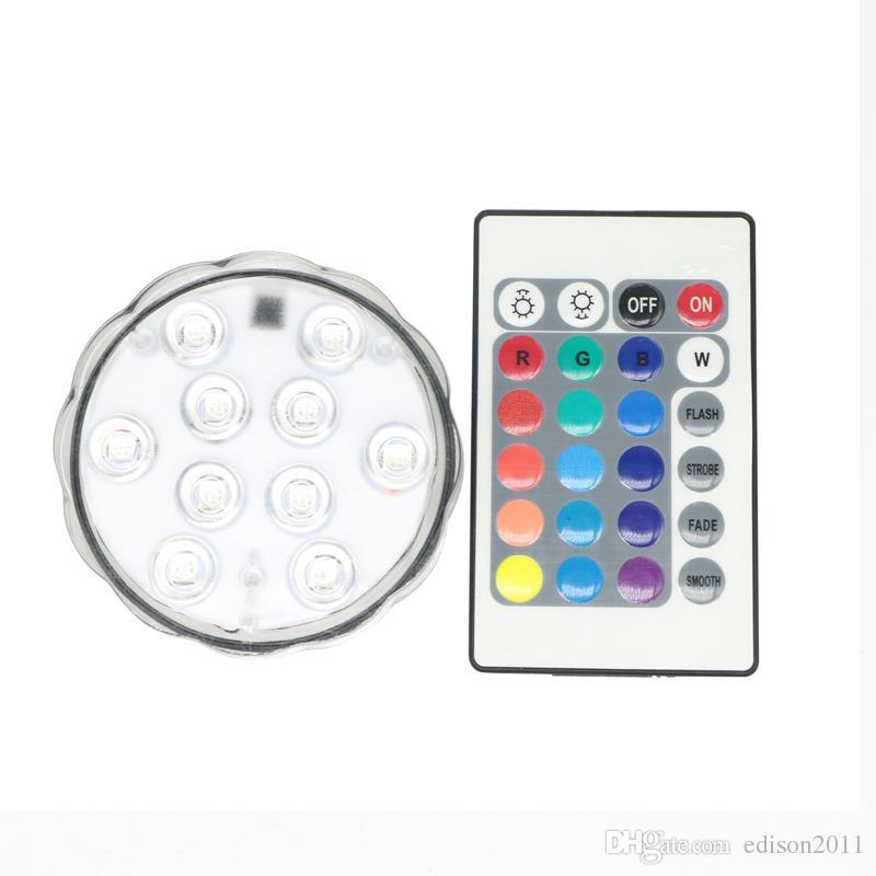 Edison2011 10 LED Multicolor pool nedsänkbar ljus 24 Nyckel fjärrkontroll Party Tea Floralytes Vase Base Light Blub för bröllopsferie