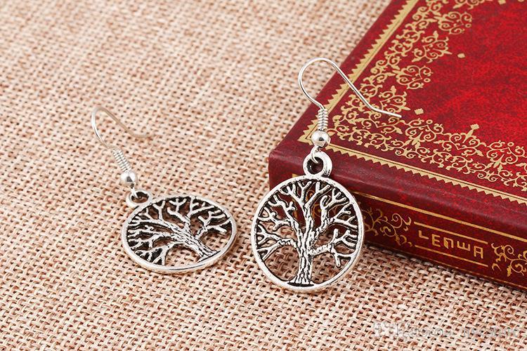 золото посеребренные серьги дерево жизни женщины мода жизнь дерево мир серьги очарование
