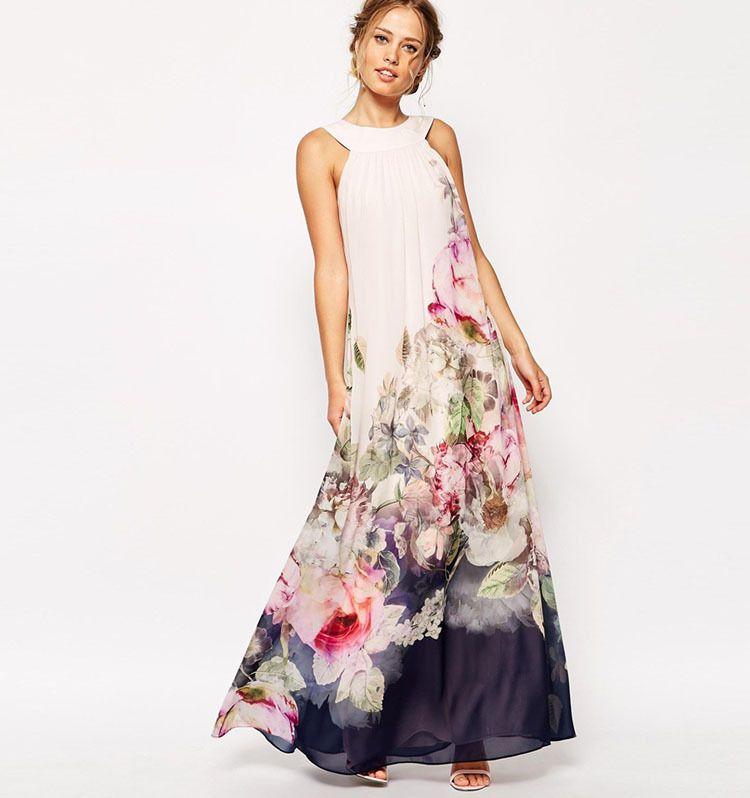 d8a89085d9110 2017 Summer Floral Print Maxi Dresses Womens Beach Club Casual Loose Chiffon  Sleeveless O Neck Long Plus Size Fashion Boho Clothes Short Evening Dress  ...