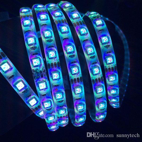 12V Impermeabile 5050 SMD LED Strip Light Flessibile Rosso Verde Blu Warm White Cool White 60Led / m Spedizione gratuita