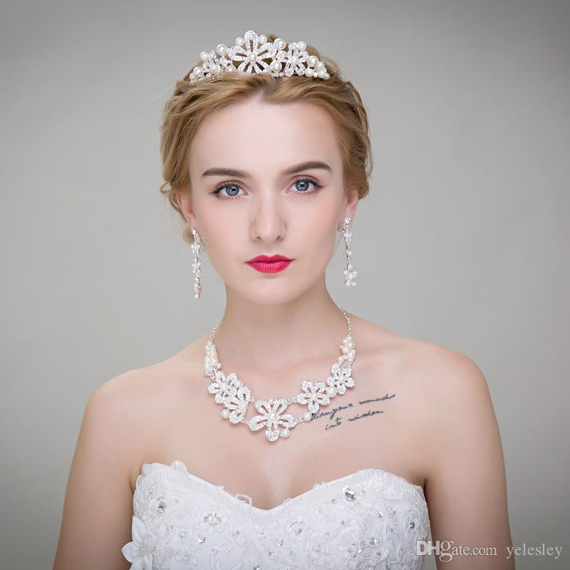 Cheap High Quality 3 Pcs Hot Sale Wedding Bridal Crown Necklace Earring Party Jewelry Bridal Jewelry