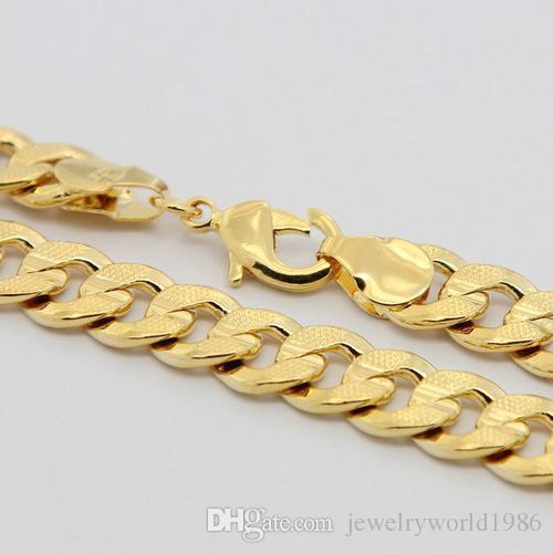 Envío rápido gratuito Fino 20inch 20g 24K Solid Gold Gold Filled / Plateado Collar de cadena de enlace para hombre nunca se desvaneció