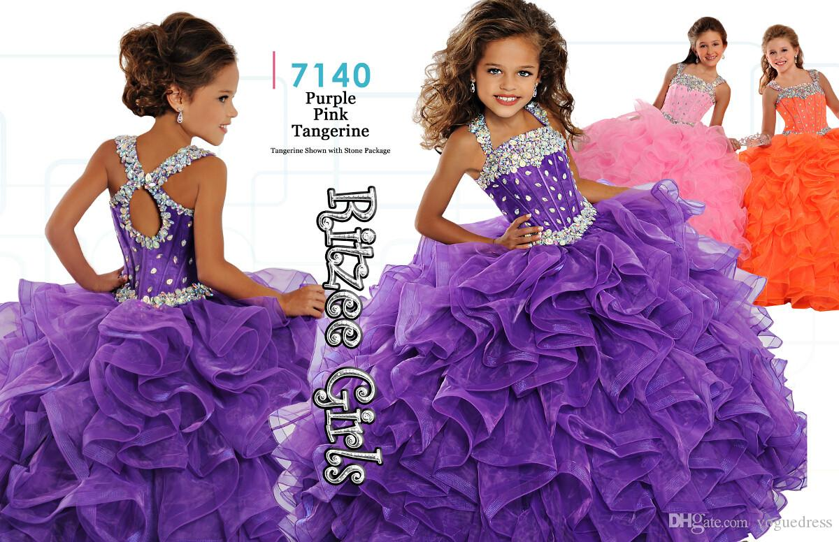 Newest Purple\Royal Blue Ritzee Girls Pageant Ball Gowns 7140 Organza Floor  Length With Shiny Stones Holy Communion Flowers Kids Dresses Short Dresses  Debs ...