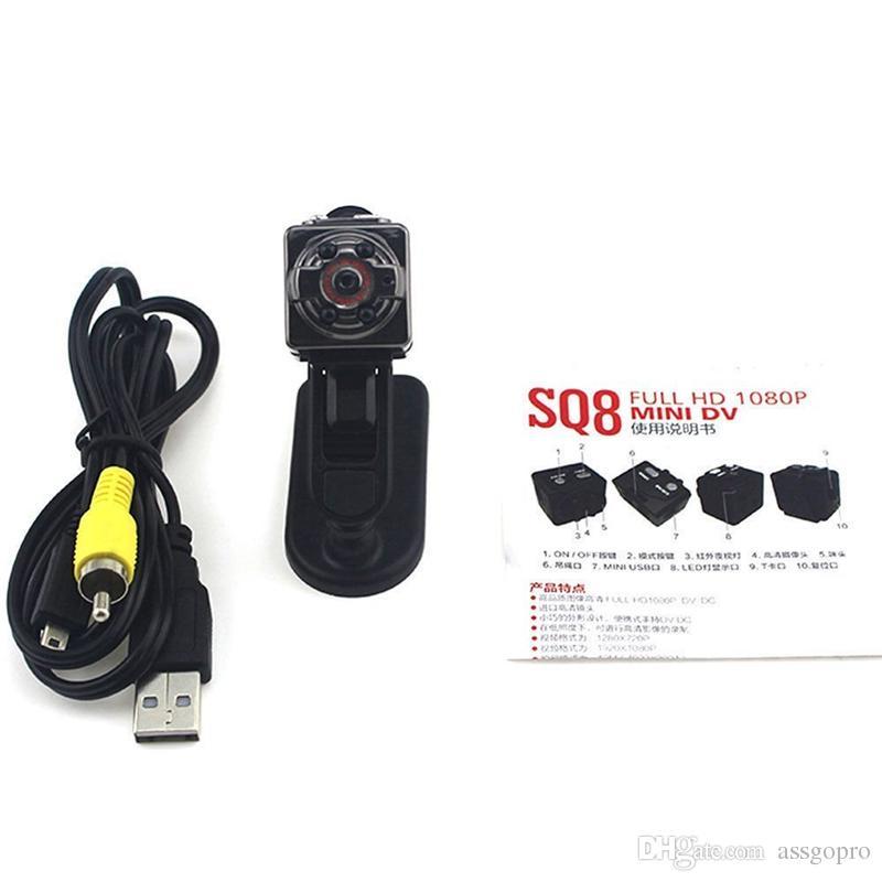 Free DHL HD 1080P 720P Sport Mini Camera SQ8 Micro DV Voice Video Recorder Infrared Night Vision Digital Small Cam Portable Camcorder