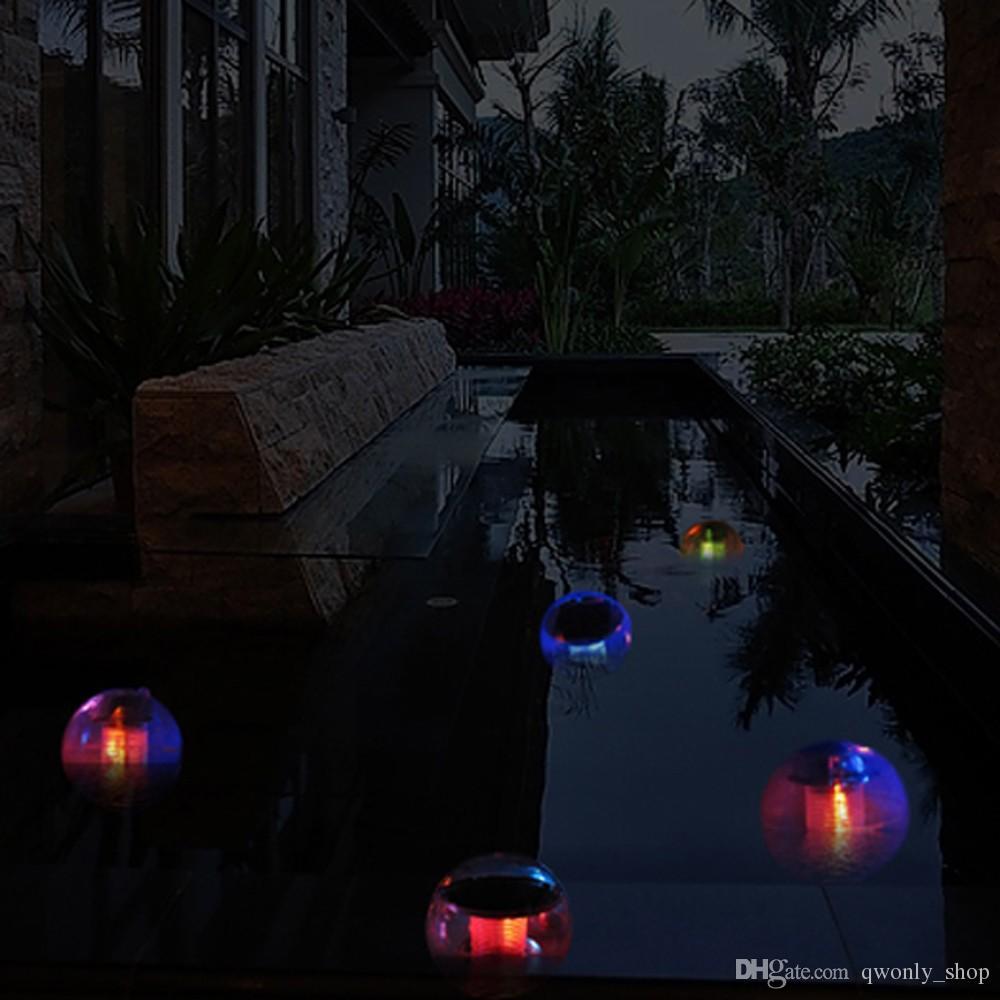 Nueva Impermeable Piscina Solar Power RGB LED Lámpara de Luz Flotante 2V 60mA Jardín Exterior Estanque de Color de Paisaje que Cambia las Luces de la Noche