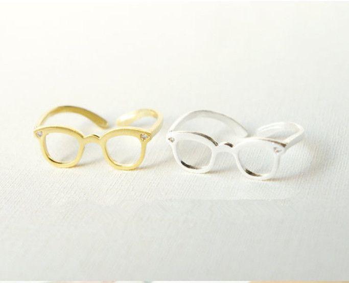 Min 10 stück Rose Gold überzogene Geek Schmuck Ungewöhnliche Nette Brille Ringe Punk Cool Dainty Midi Ring Frauen Männer Schmuck R3008