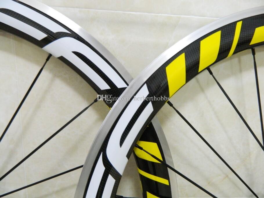 알루미늄 FFWD 카본 휠 노란 데칼 탄소 섬유 Wheelset 700C Road Clincher Wheelset 50mm R36 허브