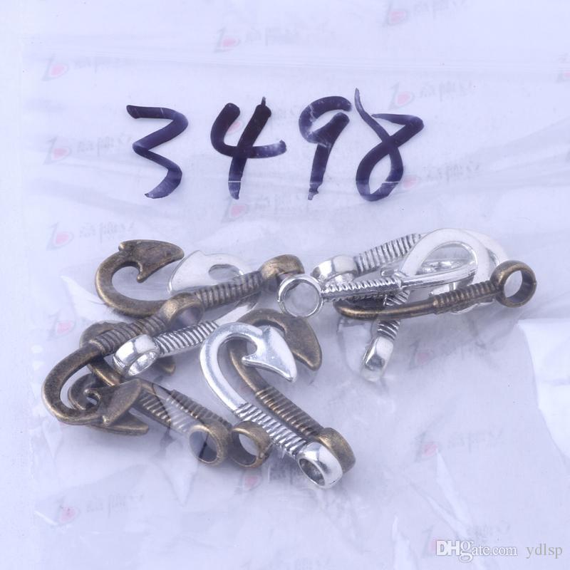 Rétro poisson crochets pendentif argent antique / bronze pour bricolage bijoux pendentif fit collier ou bracelets / 3498