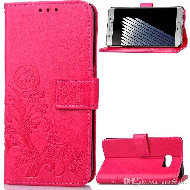 Lucky Clover Strap Wallet Leather Case For Samsung Galaxy S9 PLUS Note8 C7 Pro J5 J2 J3 Huawei Y625 HTC One M10 Stand Card Flower Cover
