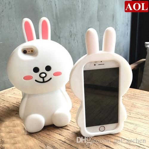 18c8ff7c2c9 Luxury 3d Cartoon White Rabbit Soft Silicone Case Protective Mobile Phone  Cover Skin For IPhone 5 5s SE 6 6s Plus DHL Free Leather Cell Phone Case  Unique ...