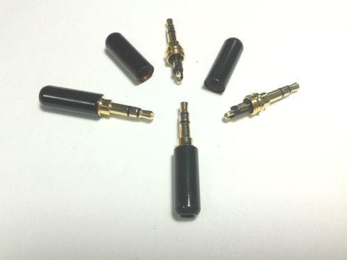 preto banhado a ouro 3,5 milímetros 1/8 estéreo macho mini plugue cobre
