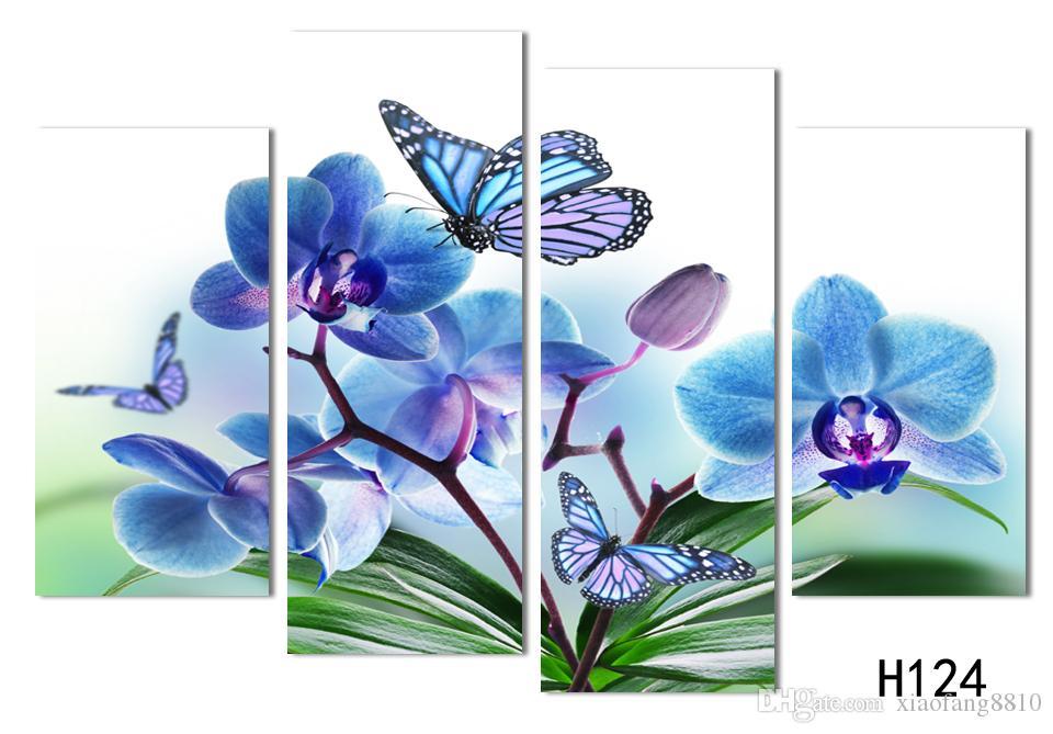4 Pannello Bella farfalla orchidea fiori stampati su tela soggiorno decorazione della casa di arte della parete pittura a olio senza cornice