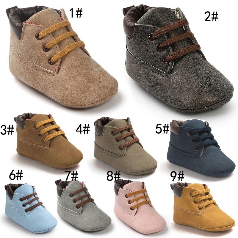 حذاء طفل رضيع حذاء ريدوالر أحذية أطفال الأزياء لينة وحيد الأخفاف الدانتيل يصل الأحذية الأطفال بارد بو الجلود الأولى ووكر الأحذية 12 الألوان