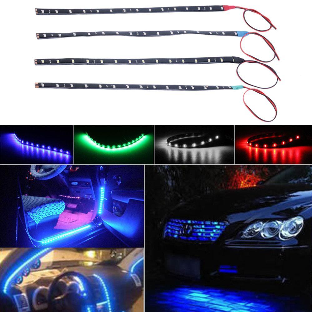 15LED / 30cm su geçirmez LED Şerit 3528 12 V DC SMD Yüksek Güç Esnek LED Araba Şeritleri, beyaz / mavi / kırmızı / yeşil / sarı