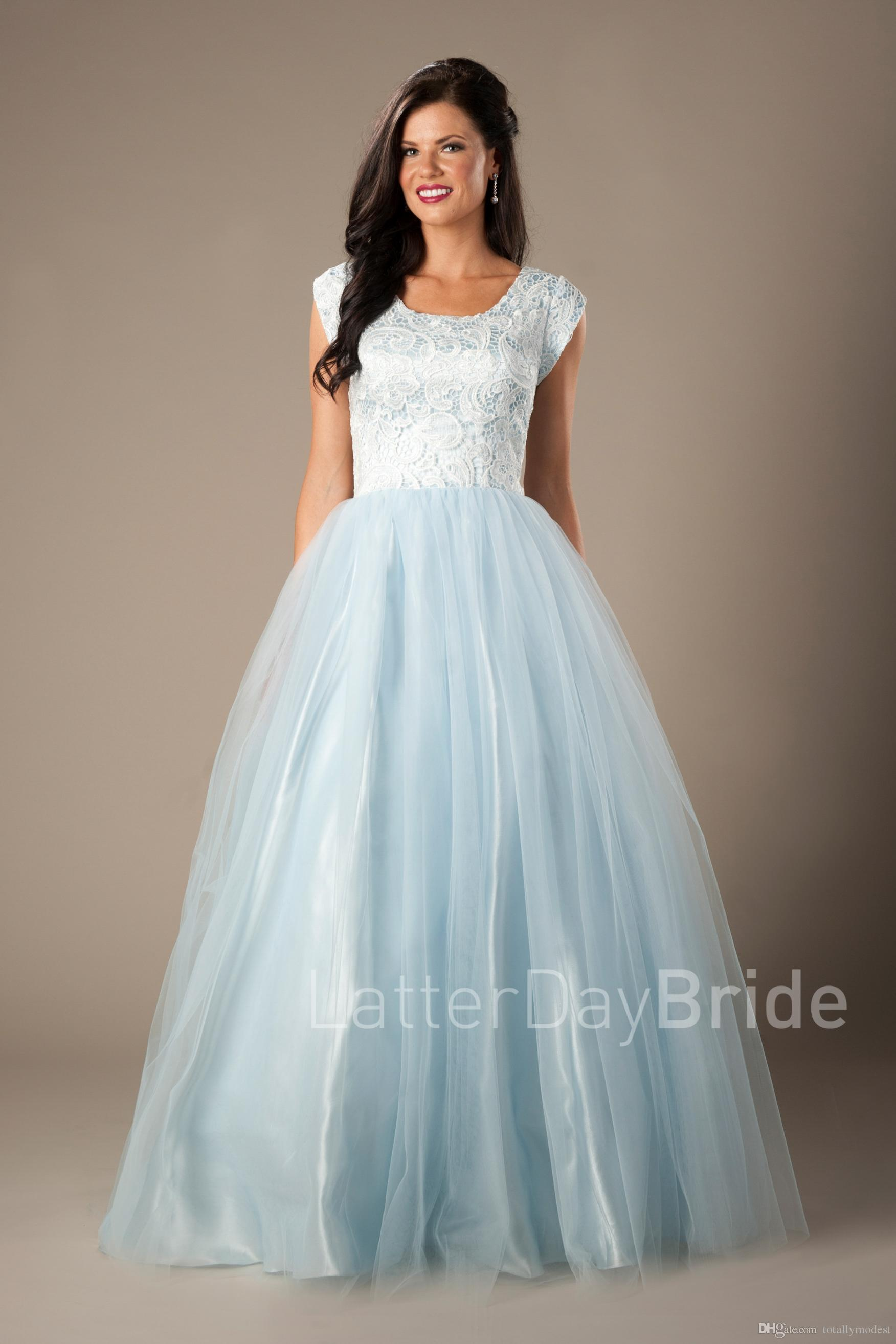 Simple Blue Ivory Lace Tulle Prom Dresses Long Modest With Cap ...