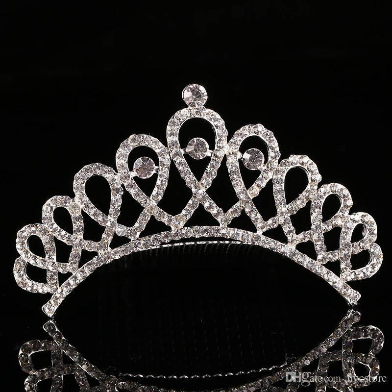 Милые дети тиара корона свадебные украшения цветок девушка принцесса Кристалл горный хрусталь тиара день рождения Пром партии подарок