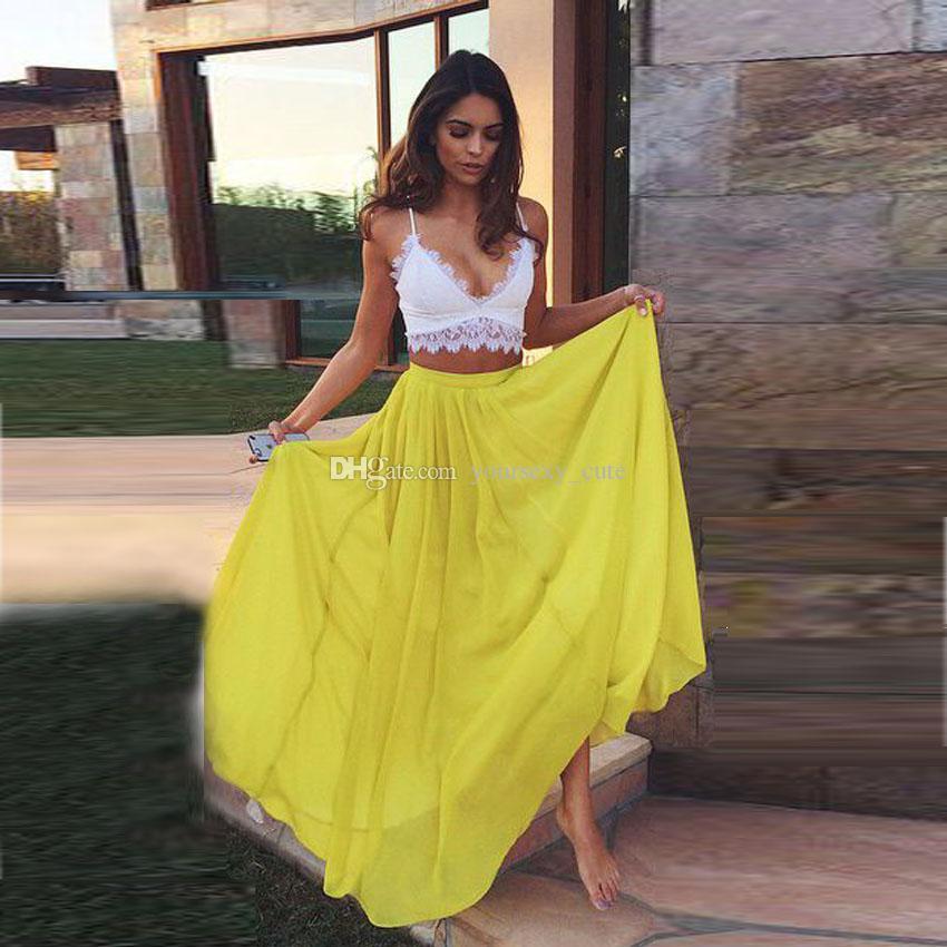 23e9c8a60e4b 2019 2016 Summer Bohemain Skirts For Women Chiffon Beach Dress Party Skirts  For Women Casual Party Dresses Yellow Skirts Long Skirts Maxi Skirts From  ...