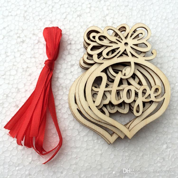 Carta de natal de madeira Padrão de bolha de coração Ornamento Enfeites De Árvore de Natal Para Casa Festival Enfeites de Presente de Suspensão, por saco