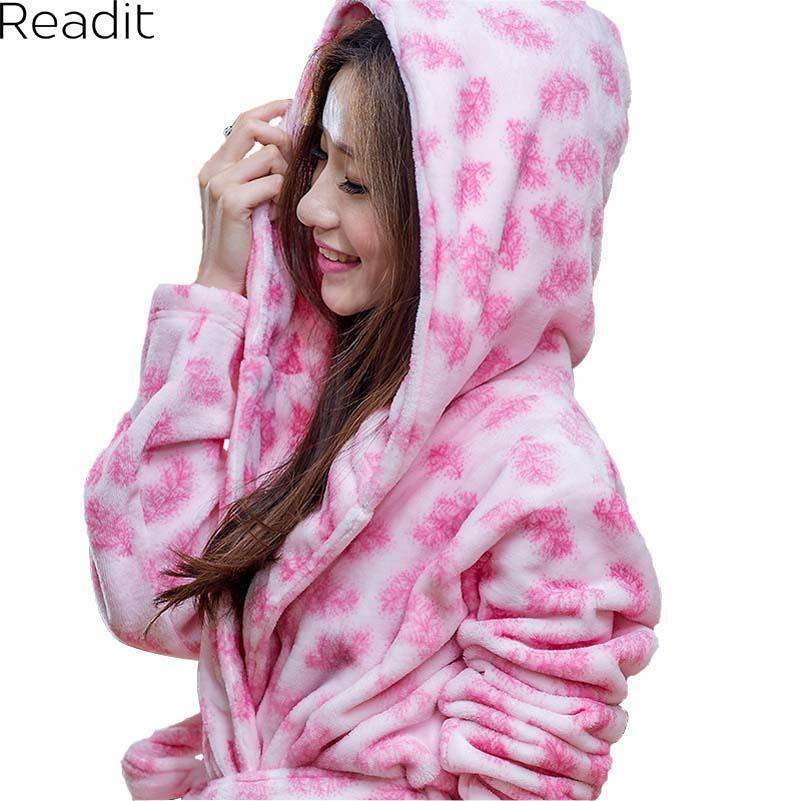 fb796ffa8a Wholesale- Women Pajamas Sexy Warm Robe with Hood Flannel Hooded ...