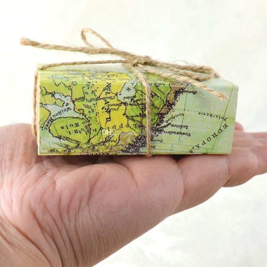 레트로지도 크래프트 사탕 상자 웨딩 Faovrs 크리스마스 기념일 파티 선물 종이 상자 녹색 무료 배송