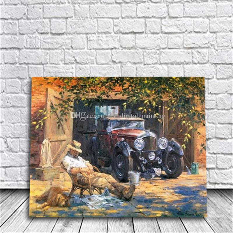 Car Library DIY Painting By Numbers Hand-Painted Canvas Painting ...