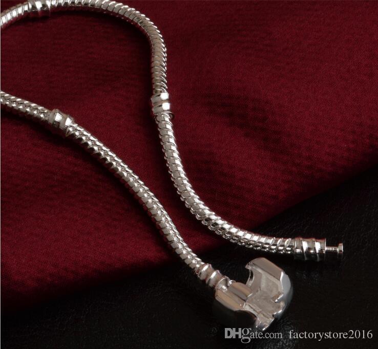 Fabrik Großhandel 925 Sterling Silber Armbänder 3mm Schlangenkette Fit Pandora Charm Bead Armreif Schmuck Geschenk Für Männer Frauen