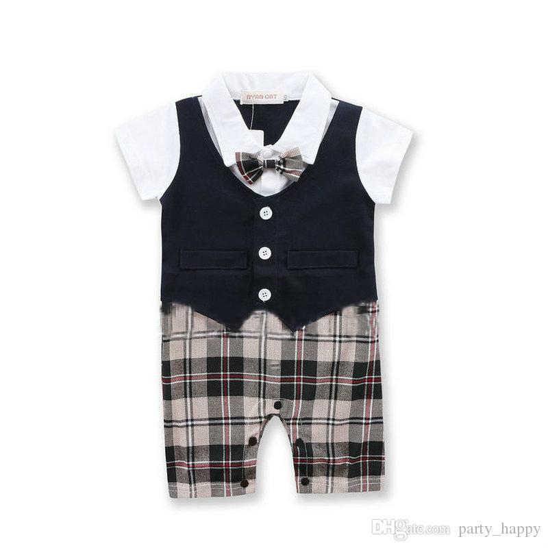 bébé garçons infantile monsieur costume costume corps avec cravate barboteuses vêtements tenues pantalon à carreaux grimper vêtements de mâle bébé pleine lune garçons chemise