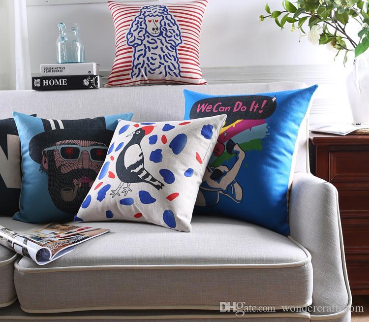 Animali del fumetto creativo Unicorno Lion Sheep Bird Covers Covers Cute People Ritratto Disegno Pillow Case decorativo Lino Pillow Cover