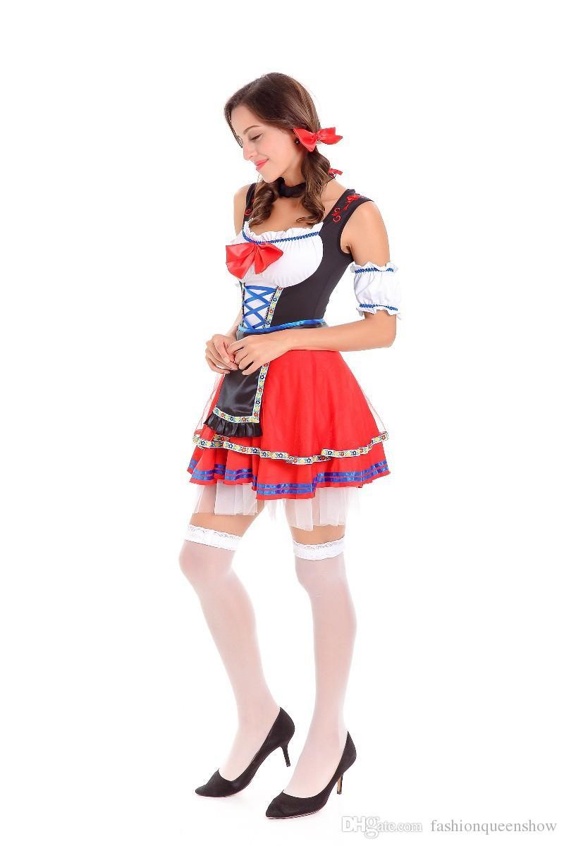 Women Halloween Maid Cosplay Costume German Beer Girl Oktoberfest Dress Sexy Bavarian Style Mini Tutu Dress