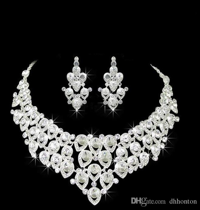 Wedding Bridal Jewelry Sets Girls Earrings Necklace set wedding Party bridalmaid jewelry Rhinestones Accessories free shipping HT105