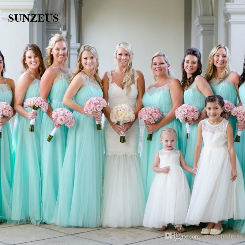 Beautiful Turquoise Bridesmaid Dresses Long Tulle Wedding Party Gowns A Line Spaghetti Straps Beach Formal Dresses Vestido Color Turquesa