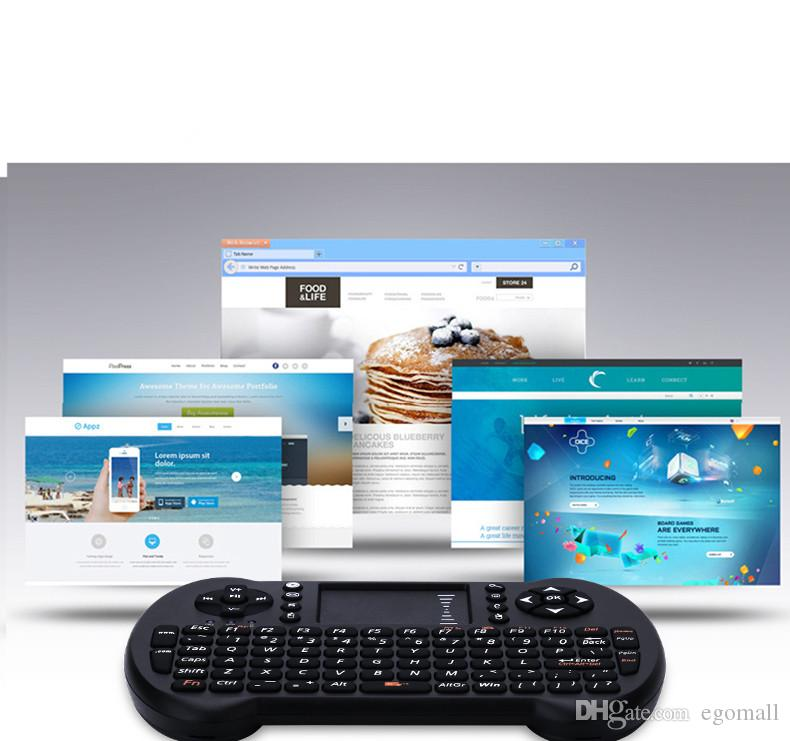 Mini tastiera senza fili 2.4GHz Tastiera inglese Mouse Air Telecomando Touchpad Android TV Box Notebook Tablet PC