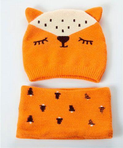 2017 Unisexe Bébé Tricoter Double Oreilles Bonnets Chapeaux et Anneau Écharpe Ensemble Enfant Fox Design Jacquard Hiver Chaud Cap 2 Pièces Costume MZ5079
