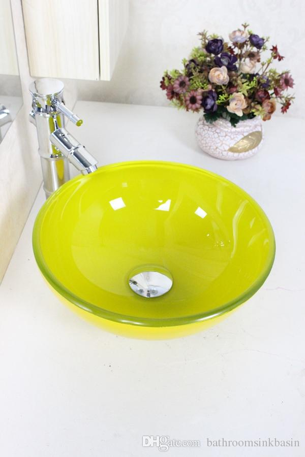 2019 Mini 310mm Yellow Small Round Pots Tempered Glass Vessel Sink