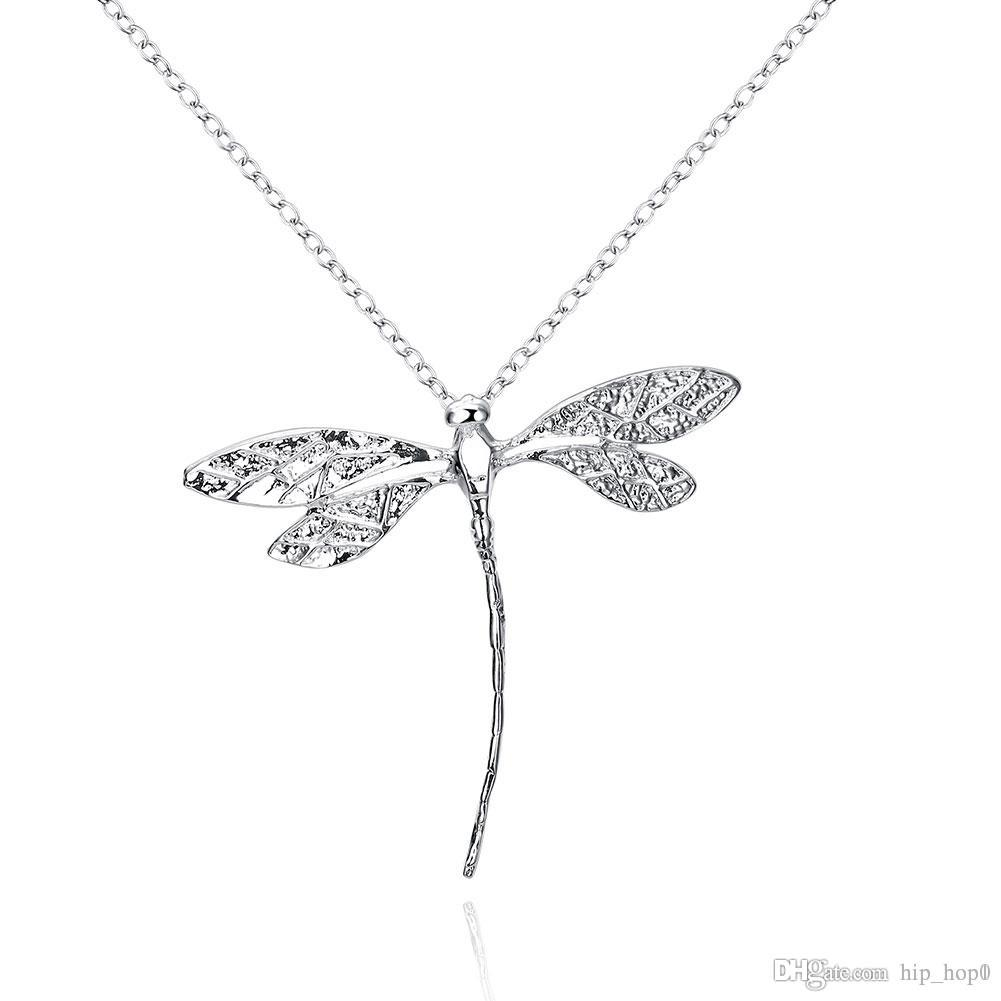 Wholesale 925 silver plated animal pendant necklace cute dragonfly wholesale 925 silver plated animal pendant necklace cute dragonfly charms long rolo silver chain fashion lovely jewelry for girls christmas gifts necklaces aloadofball Image collections