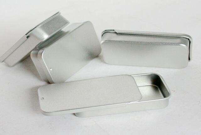 Atacado / top box estanho monte de prata lisa cor de slides, caixa caso usb retângulo DHL Fedex frete grátis