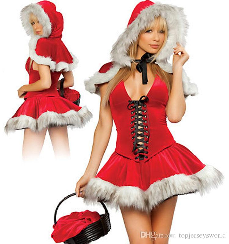 sexy little red riding hood ladies uniforms costume cosplay exotic apparel women clubwear mini dress cloak gloves group adult halloween costumes halloween - Exotic Halloween Costume