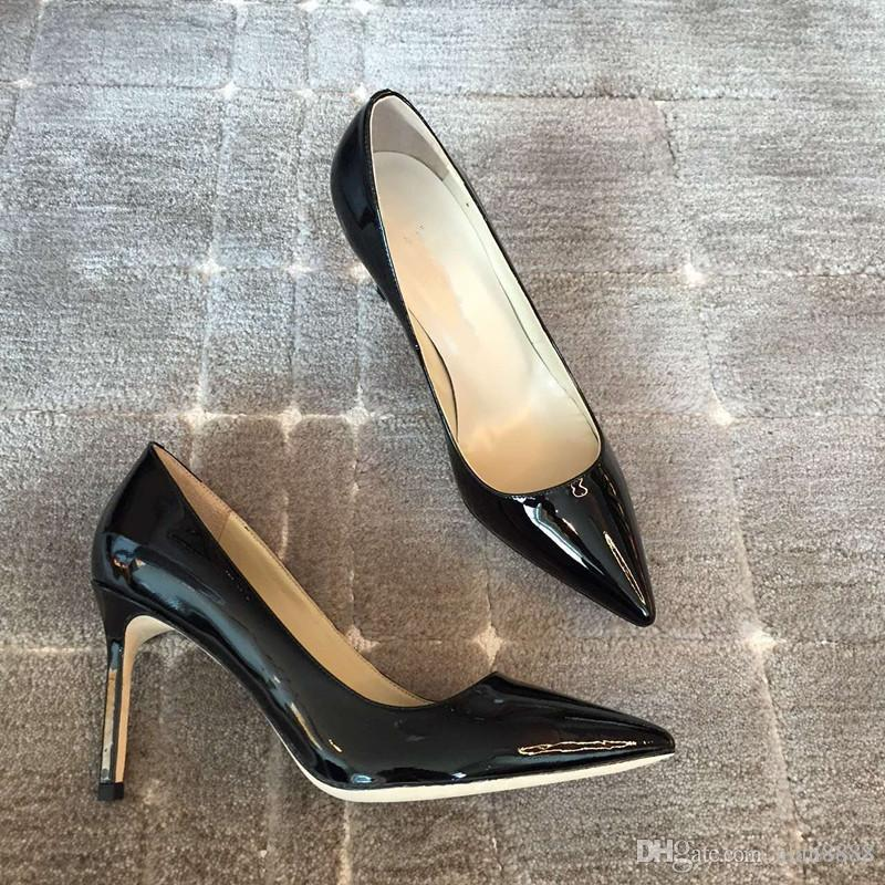 High quality women high heels M Cattle coat of paint party shoes Three color true leather shoes size 35 to 39 spot